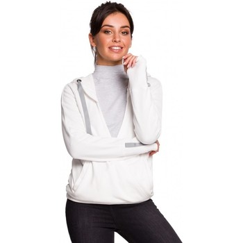 tekstylia Damskie Bluzy Be B127 Hooded wrap front pullover - ecru