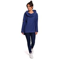 tekstylia Damskie Bluzy Be B131 Bluza z wysokim kołnierzem - indygo