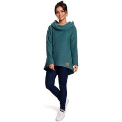 tekstylia Damskie Bluzy Be B131 Bluza z wysokim kołnierzem - turkusowy