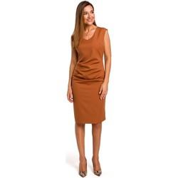 tekstylia Damskie Sukienki krótkie Style S174 Sleeveless dress with gathered front - ginger