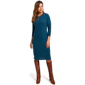 tekstylia Damskie Sukienki Style S178 Long sleeve sweater dress - ocean blue