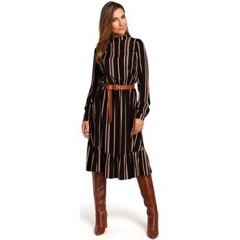 tekstylia Damskie Sukienki krótkie Style S182 Striped dress with a buckle belt - model 1