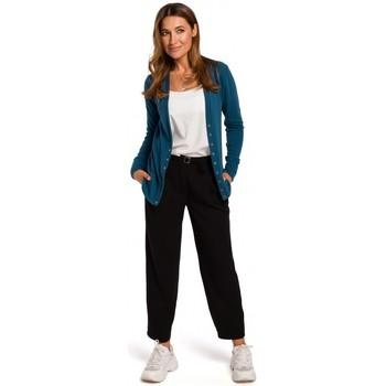 tekstylia Damskie Swetry Style S198 Kardigan z zatrzaskami - ocean blue