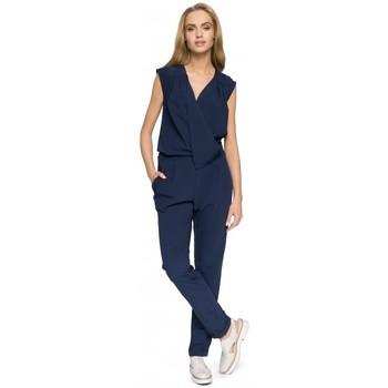 tekstylia Damskie Kombinezony / Ogrodniczki Moe M196 Sleeveless, draped jumpsuit - navy blue