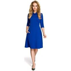 tekstylia Damskie Sukienki krótkie Moe M279 Dress with turtle neck - royal blue