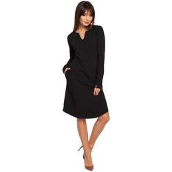 tekstylia Damskie Sukienki Be B017 Sukienka z wycięciem pod szyją - czarna