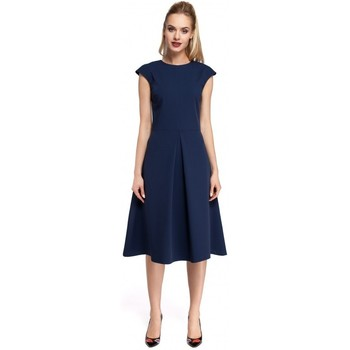 tekstylia Damskie Sukienki krótkie Moe M296 Inverted pleat dress - navy blue