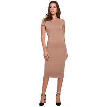 tekstylia Damskie Sukienki krótkie Makover K001 Sukienka z dzianiny z odkrytymi ramionami - beżowy