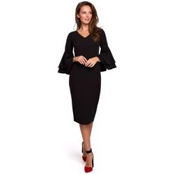 tekstylia Damskie Sukienki krótkie Makover K002 Sukienka z falbanami na rękawach - czarna