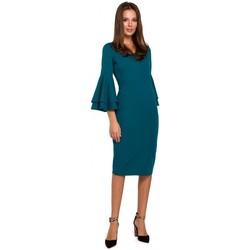 tekstylia Damskie Sukienki Makover K002 Sukienka z falbanami na rękawach - ocean blue
