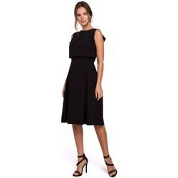 tekstylia Damskie Sukienki krótkie Makover K006 Dzianinowa sukienka z rozkloszowanymi detalami - wrzosowa