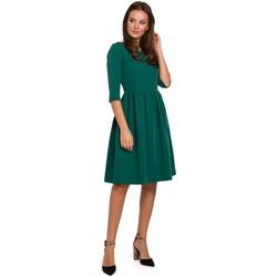 tekstylia Damskie Sukienki krótkie Makover K010 Sukienka fit & flare z zebraną talią - zielona
