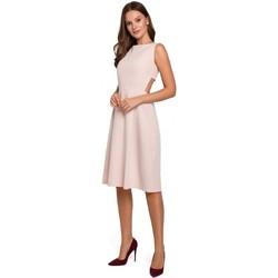 tekstylia Damskie Sukienki krótkie Makover K011 Rozkloszowana sukienka z odkrytymi plecami - beżowy