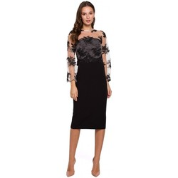 tekstylia Damskie Sukienki krótkie Makover K013 Pencil dress with guipure top - black