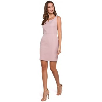tekstylia Damskie Sukienki Makover K022 Mini sukienka z kwadratowym dekoltem - krepa różowa