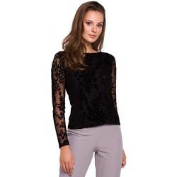 tekstylia Damskie Topy / Bluzki Makover K024 Flock lace blouse - black