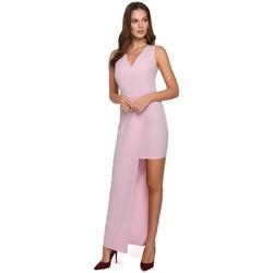 tekstylia Damskie Sukienki Makover K026 Długa asymetryczna sukienka - liliowa