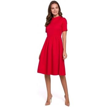 tekstylia Damskie Sukienki Makover K028 Sukienka z wywijanym dekoltem - czerwona