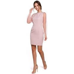 tekstylia Damskie Sukienki krótkie Makover K032 Sukienka mini z tiulowymi rękawami - krepa różowa
