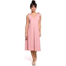tekstylia Damskie Sukienki krótkie Be B148 Sukienka trapezowa z wiązanymi paskami - różowa