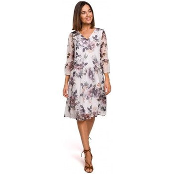 tekstylia Damskie Sukienki Style S214 Chiffon dress with drop waist - model 1