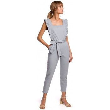 tekstylia Damskie Kombinezony / Ogrodniczki Moe M507 Jumpsuit with frills - dove grey