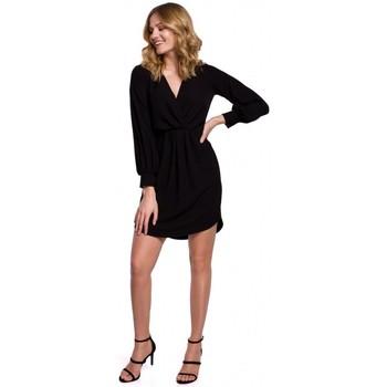 tekstylia Damskie Sukienki Makover K044 Draped shift dress - black