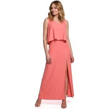tekstylia Damskie Sukienki Makover K048 Maxi dress with frill top - orange