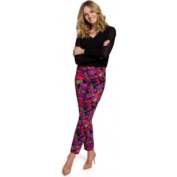 tekstylia Damskie Spodnie Makover K053 Slim leg trousers with print - model 2