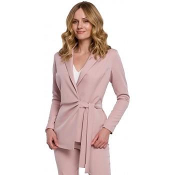 tekstylia Damskie Marynarki Makover K056 Blazer with a tie belt - crepe pink