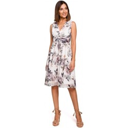tekstylia Damskie Sukienki Style S225 Sukienka szyfonowa z dekoltem w szpic - model 1