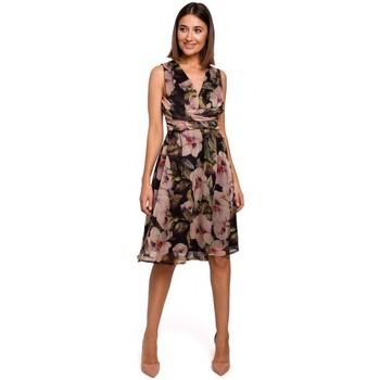 tekstylia Damskie Sukienki Style S225 Szyfonowa sukienka z dekoltem w szpic - model 4