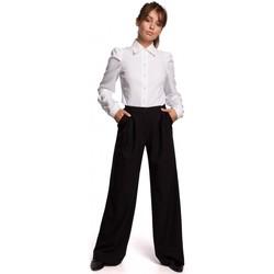 tekstylia Damskie Spodnie Be B164 Spodnie z szerokimi nogawkami - czarne