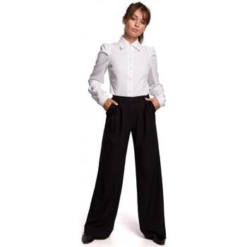 tekstylia Damskie Koszule Be B165 Koszula z rękawem puchowym - biała