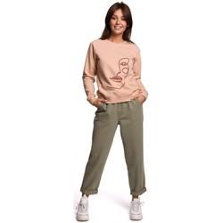 tekstylia Damskie Bluzy Be B167 Bluzka z nadrukiem z przodu - żowa