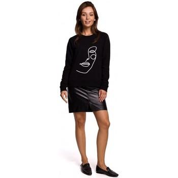 tekstylia Damskie Bluzy Be B167 Bluzka z nadrukiem z przodu - czarna