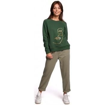tekstylia Damskie Bluzy Be B167 Bluzka z nadrukiem z przodu - zieleń trawnika
