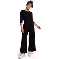 tekstylia Damskie Kombinezony / Ogrodniczki Be B174 Wide-leg jumpsuit - black