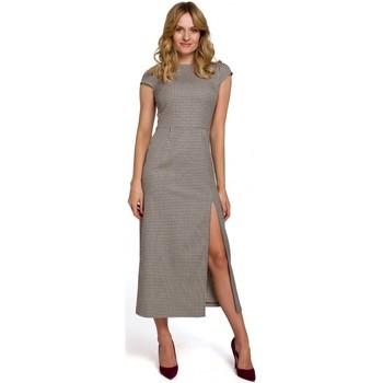 tekstylia Damskie Sukienki długie Makover K071 Gingham midi dress - brown