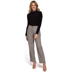 tekstylia Damskie Chinos Makover K076 Spodnie z nadrukiem gingham - brązowy
