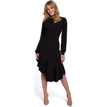 tekstylia Damskie Sukienki długie Makover K077 Sukienka z falbanką flamenco - czarna