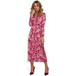 tekstylia Damskie Sukienki długie Makover K083 Floral print wrap dress - model 2