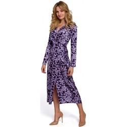 tekstylia Damskie Sukienki długie Makover K083 Floral print wrap dress - model 2 Fioletowy