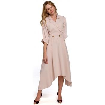 tekstylia Damskie Sukienki długie Makover K086 Midi lenght dress with decorative buttons - beige
