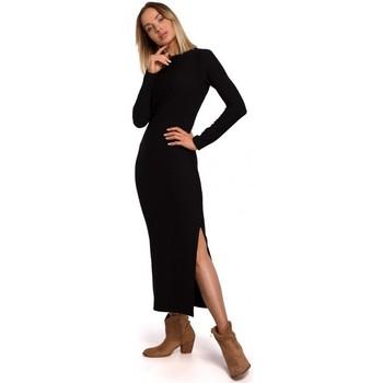 tekstylia Damskie Sukienki długie Moe M544 Sukienka maxi z rozcięciem na nogi - czarna