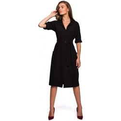 tekstylia Damskie Sukienki długie Style S230 Sukienka koszulowa midi z naszywanymi kieszeniami - czarna