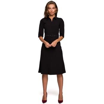 tekstylia Damskie Sukienki krótkie Style S231 Obroża z paskiem z klamrą - czarna