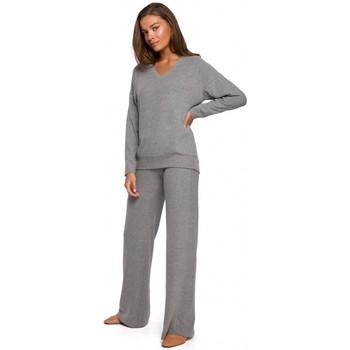 tekstylia Damskie Spodnie z lejącej tkaniny / Alladynki Style S249 Lounge - szare spodnie z dzianiny z szerokimi nogawkami