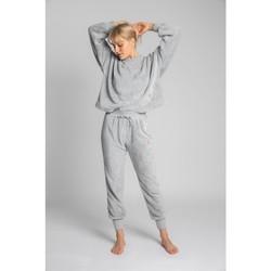 tekstylia Damskie Spodnie dresowe Lalupa LA004 Fluffy Knit Joggers - jasnoszary