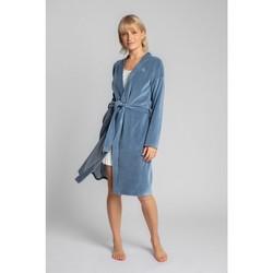 tekstylia Damskie Piżama / koszula nocna Lalupa LA009 Aksamitny szlafrok z wiązanym paskiem - niebieski